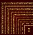 golden set of decorative corner borders and frames vector image vector image