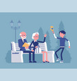 grandparents and grandson in a park vector image vector image