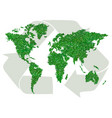 green world map with sign of recycling vector image vector image