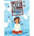 headphone woman character in headset listening to vector image vector image