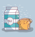 healthy milk with slice of bread food vector image vector image