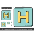 Hospital sign line icon vector image vector image