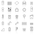 House related line icons with reflect on white vector image vector image