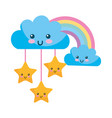 kawaii clouds stars and rainbow cartoon vector image vector image