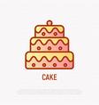 layered cake thin line icon wedding dessert vector image vector image
