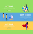 like time and best choice horizontal banner set vector image vector image