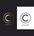 logo c monogram gold letter seal mockup elegant vector image