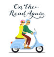 man and woman riding on the motorbike on the road vector image
