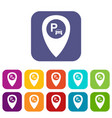 map pointer with car parking icons set vector image vector image