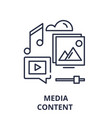 media content line icon concept media content vector image vector image