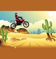motor cross rider in the desert vector image vector image