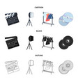 movies discs and other equipment for the cinema vector image