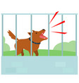 noisy dog barking all the time in fence of vector image