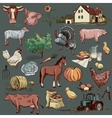 original hand drawn farm collection vector image