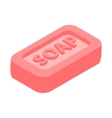 Pink bar of soap 3d isometric icon vector image