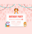 pink invitation with background balloons for a vector image