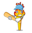 playing baseball torch character cartoon style vector image
