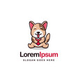 puppy dog hug a heart logo mascot template vector image vector image