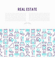 real estate concept with thin line icons vector image vector image