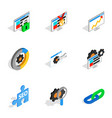 seo icons isometric 3d style vector image vector image