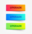 set colorful upgrade buttons web element vector image