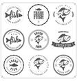 set made with fish stamps labels and badges vector image vector image