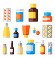 set medicine bottles and pills vector image
