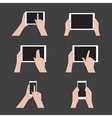 set of commonly used multi-touch gestures vector image vector image