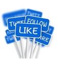 set social media network road signs include vector image