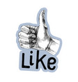 sketched thumb up gesture vector image