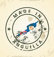 Stamp with map flag of Anguilla vector image vector image