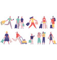 travelling summer vacation tourist male and female vector image vector image