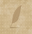 Vintage feather on grunge background vector image vector image