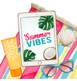 watercolor tablet pc on beach towel with glasses vector image vector image