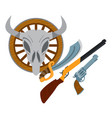 wild west guns slasher revolver shotgun wild west vector image