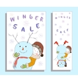 Winter sale banner with cute girl vector image vector image