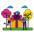 woman and man gift cake birthday celebration vector image vector image