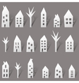 Paper houses with long shadow vector image