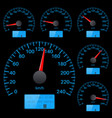 speedometer collection round black gauge with vector image