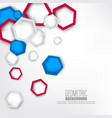 3d paper hexagons background vector image