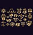antique damask ornaments golden baroque rococo vector image