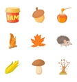 Autumn coming icons set cartoon style vector image vector image