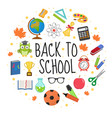 back to school icon set in round shape flat vector image vector image