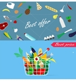 Basket full of healthy organic fresh and natural vector image vector image