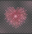 beautiful heart-firework red romantic firework vector image vector image