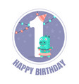 blue circle with number 1 for birthday vector image vector image