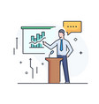 business coach at blackboard training vector image vector image