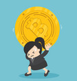 businessman carrying bits coin depict the vector image