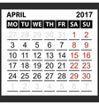 calendar sheet April 2017 vector image
