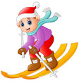 cartoon boy skiing down vector image vector image